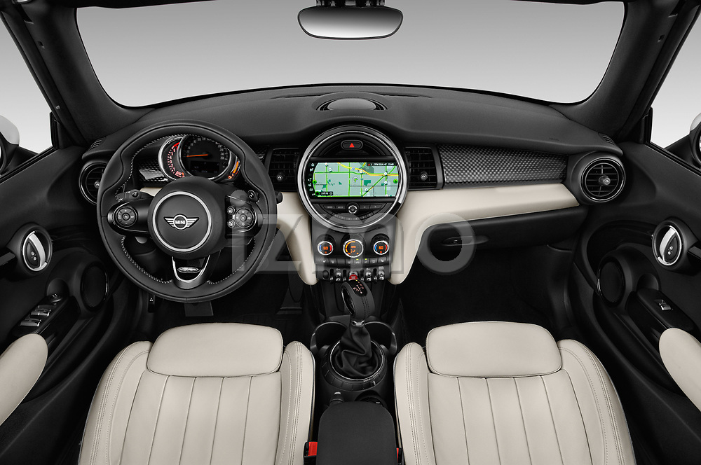 Stock photo of straight dashboard view of a 2019 Mini Cooper Cooper S Chili 2 Door Convertible