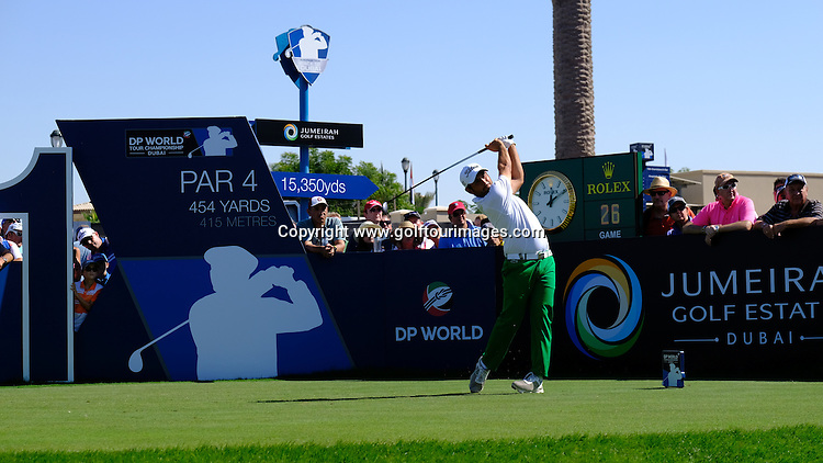 Alexander Levy (FRA) during round two of the 2016 DP World Tour Championships played over the Earth Course at Jumeirah Golf Estates, Dubai, UAE: Picture Stuart Adams, www.golftourimages.com: 11/18/16