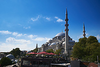 Suleymaniye Mosque and terrace of a cafe, Istanbul, Turkey