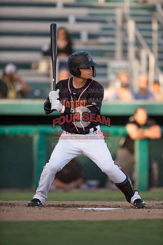 Modesto Nuts shortstop Bryson Brigman (8) at bat during a California League game against the Lake Elsinore Storm at John Thurman Field on May 11, 2018 in Modesto, California. Modesto defeated Lake Elsinore 3-1. (Zachary Lucy/Four Seam Images)