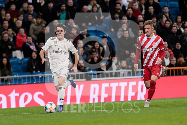 Real Madrid's Alvaro Odriozola and Girona FC's Pedro Porro during Copa del Rey match between Real Madrid and Girona FC at Santiago Bernabeu Stadium in Madrid, Spain. January 24, 2019. (ALTERPHOTOS/A. Perez Meca)