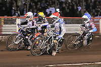 Heat 13: Darcy Ward (red), Rob Mear (blue), Peter Karlsson (white) and Greg Hancock (yellow) - Lee Richardson Memorial Speedway Meeting at Arena Essex Raceway, Purfleet - 28/09/12 - MANDATORY CREDIT: Gavin Ellis/TGSPHOTO - Self billing applies where appropriate - 0845 094 6026 - contact@tgsphoto.co.uk - NO UNPAID USE.