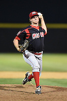 Batavia Muckdogs pitcher Christian MacDonald (39) delivers a pitch during a game against the Tri-City ValleyCats on August 2, 2014 at Joseph L. Bruno Stadium in Troy, New York.  Tri-City defeated Batavia 8-4.  (Mike Janes/Four Seam Images)
