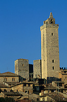 Medieval towers in the townscape at sunset, San Gimignano, Italy.