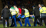 St Johnstone v Hibs..28.11.12      SPL.David Robertson is stretchered off.Picture by Graeme Hart..Copyright Perthshire Picture Agency.Tel: 01738 623350  Mobile: 07990 594431