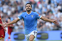 26th September 2021;  Stadio Olimpico, Rome, Italy; Italian Serie A football, SS Lazio versus AS Roma; Pedro of SS Lazio celebrates after scoring his  goal for 2-0 in the 19th minute
