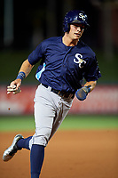 Charlotte Stone Crabs designated hitter Josh Lowe (28) rounds third base during the second game of a doubleheader against the St. Lucie Mets on April 24, 2018 at First Data Field in Port St. Lucie, Florida.  St. Lucie defeated Charlotte 5-3.  (Mike Janes/Four Seam Images)