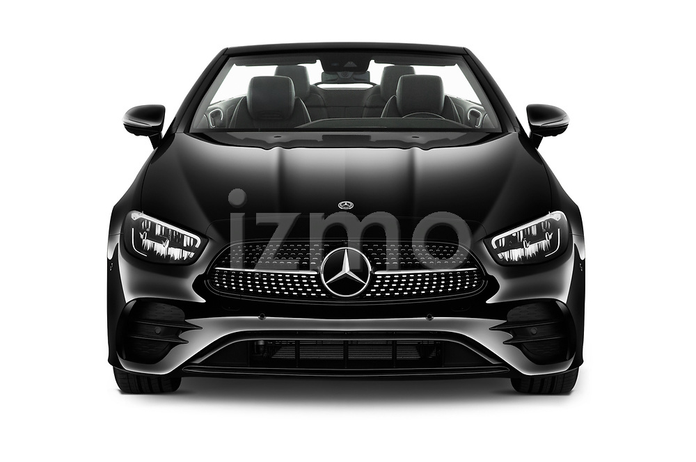 Car photography straight front view of a 2021 Mercedes Benz E-Class-Cabriolet E450 2 Door Convertible Front View