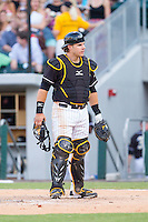 Charlotte Knights catcher Josh Phegley (4) on defense against the Scranton/Wilkes-Barre RailRiders at BB&T Ballpark on July 17, 2014 in Charlotte, North Carolina.  The Knights defeated the RailRiders 9-5.  (Brian Westerholt/Four Seam Images)