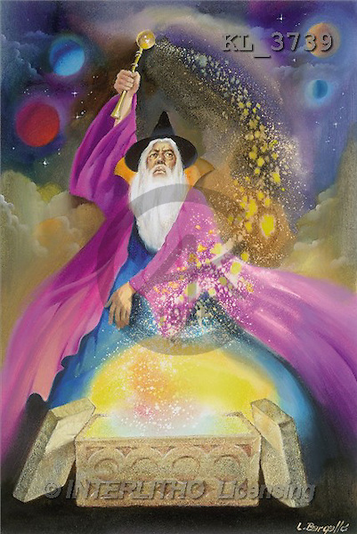 Interlitho, Luis, FANTASY, paintings, magician, universe, KL, KL3739,#fantasy# illustrations, pinturas