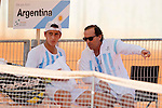Argentina's Tomas Echeverry with his coach during Junior Davis Cup 2015 match. September  30, 2015.(ALTERPHOTOS/Acero)