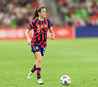 AUSTIN, TX - JUNE 16: Kelley O'Hara #5 of the United States looks to pass the ball during a game between Nigeria and USWNT at Q2 Stadium on June 16, 2021 in Austin, Texas.