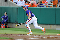 Clemson Tigers second baseman Steve Wilkerson #17 swings a pitch during a game against the Florida State Seminoles at Doug Kingsmore Stadium on March 22, 2014 in Clemson, South Carolina. The Seminoles defeated the Tigers 4-3. (Tony Farlow/Four Seam Images)