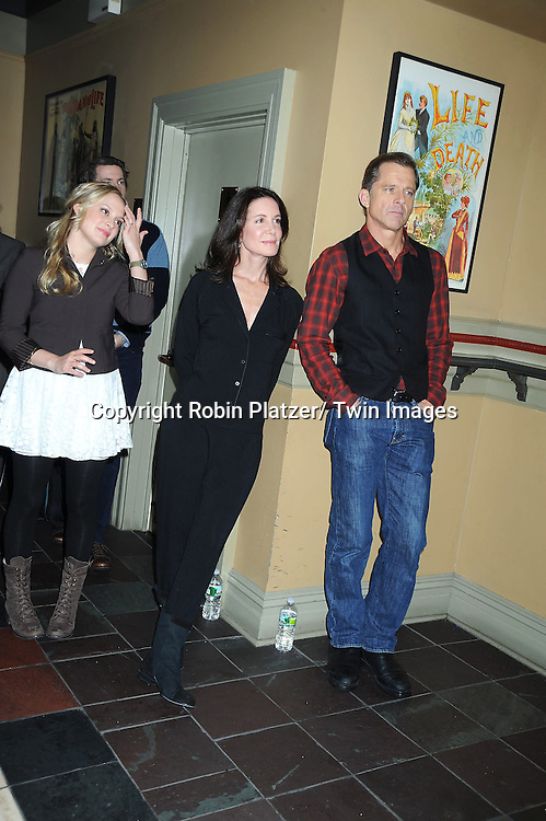 """Jenni Barber, Lois Robbins and Maxwell Caulfield posing for photographers at the photo call .for """" Cactus Flower"""" on February 1, 2011 at The Westside Theatre Upstairs in New York City. The stars are Maxwell Caulfield, .Lois Robbins and Jenni Barber."""