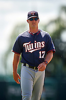 GCL Twins hitting coach Toby Gardenhire (17) during warmups before a game against the GCL Orioles on August 11, 2016 at the Ed Smith Stadium in Sarasota, Florida.  GCL Twins defeated GCL Orioles 4-3.  (Mike Janes/Four Seam Images)