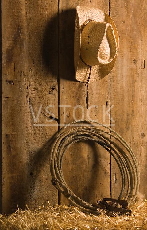 vertical cowboy hat lasso spurs still life rope roping ranch ranching western farm farming lariat bale straw barn