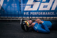 first starter/finisher Alexander Konychev (ITA) downed by fatigue after finishing <br /> <br /> MEN UNDER 23 INDIVIDUAL TIME TRIAL<br /> Hall-Wattens to Innsbruck: 27.8 km<br /> <br /> UCI 2018 Road World Championships<br /> Innsbruck - Tirol / Austria