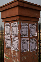 An advertisement looking for Amazon workers hangs on a column at the edge of the Red Fort in Delhi, India, on Tue., Dec. 11, 2018.
