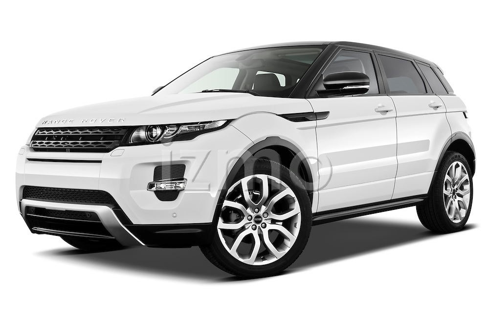 Low aggressive front three quarter view of a 2011 Land Rover Range Rover Evoque SUV.