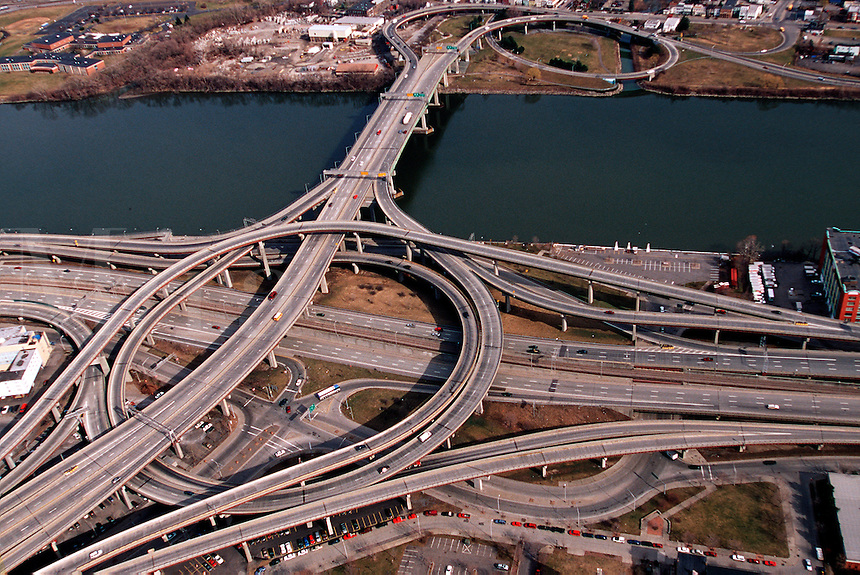 Dunn Memorial Bridge over the Hudson River and Port of Albany, New York
