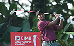 S.S.P. Chowrasia tees off at the third hole on Round 2 of the CIMB Asia Pacific Classic 2011.  Photo © Andy Jones / PSI for Carbon Worldwide