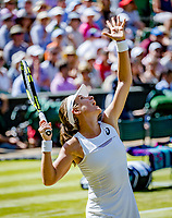 London, England, 5 th July, 2017, Tennis,  Wimbledon, Johanna Konta (GBR) serves to Donna Vekic (CRO)<br /> Photo: Henk Koster/tennisimages.com