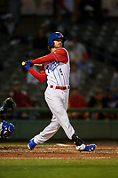 Stockton Ports center fielder Skye Bolt (9) follows through on his swing during a California League game against the Rancho Cucamonga Quakes at Banner Island Ballpark on May 16, 2018 in Stockton, California. Rancho Cucamonga defeated Stockton 6-3. (Zachary Lucy/Four Seam Images)