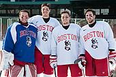 Connor Lacouvee (BU - 30), Doyle Somerby (BU - 27), Nikolas Olsson (BU - 13), John MacLeod (BU - 16) - The Boston University Terriers practiced on the rink at Fenway Park on Friday, January 6, 2017.The Boston University Terriers practiced on the rink at Fenway Park on Friday, January 6, 2017.