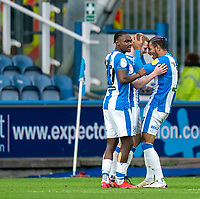20th February 2021; The John Smiths Stadium, Huddersfield, Yorkshire, England; English Football League Championship Football, Huddersfield Town versus Swansea City; Lewis O'Brien of Huddersfield Town celebrates making it 2-1 to Huddersfield in the 49th minute