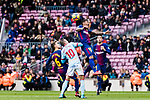 Paulinho Maciel of FC Barcelona (R) fights for the ball with Iago Aspas Juncal of RC Celta de Vigo (L) during the La Liga 2017-18 match between FC Barcelona and RC Celta de Vigo at Camp Nou Stadium on 02 December 2017 in Barcelona, Spain. Photo by Vicens Gimenez / Power Sport Images