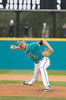 University of Coastal Carolina Chanticleers pitcher Andrew Beckwith (41) on the mound during a game against the University of Virginia Cavaliers at Springs Brooks Stadium on February 21, 2016 in Conway, South Carolina. Coastal Carolina defeated Virginia 5-4. (Robert Gurganus/Four Seam Images)