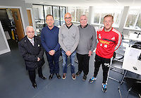 Pictured: Club chairman Huw Jenkins (2nd L) and manager Garry Monk (R). Friday 07 March 2014<br /> Re: Opening of the new training facility for Swansea City Football Club at Fairwood in the outskirts of the south Wales city.