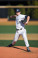 Georgetown Hoyas starting pitcher Matt Smith (27) in action against the Delaware Blue Hens at Wake Forest Baseball Park on February 13, 2015 in Winston-Salem, North Carolina.  The Blue Hens defeated the Hoyas 3-0.  (Brian Westerholt/Four Seam Images)