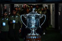 The Bledisloe Cup stands on display before the Bledisloe Cup rugby match between the New Zealand All Blacks and Australia Wallabies at Eden Park in Auckland, New Zealand on Saturday, 7 August 2021. Photo: Dave Lintott / lintottphoto.co.nz