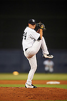 Tampa Yankees starting pitcher Ian Clarkin (15) delivers a pitch during a game against the Lakeland Flying Tigers on April 8, 2016 at George M. Steinbrenner Field in Tampa, Florida.  Tampa defeated Lakeland 7-1.  (Mike Janes/Four Seam Images)