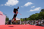 """Chris O'Neill, MAY 5, 2016 - American Chris O'Neill, the first foreign full-time salaried ninja in Japan, during an event at Nagoya Castle in Nagoya, Aichi Prefecture, Japan. O'Neill joins six Japanese ninjas hired by Aichi Prefecture to promote tourism in the region.<br /> <br /> O'Neill said being a ninja was a lifelong dream. """"My personal goal is to protect the weak, defend the innocent, and be a guardian for those who need a guardian,"""" he said in response to a reporter's question.<br /> <br /> O'Neill added that he was proud to perform alongside his six Japanese colleagues. """"We're writing the next chapter of ninja history. We're the next generation of ninja."""" (Photo by Ben Weller/AFLO) (JAPAN) [UHU]"""