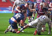 5th February 2021; Ashton Gate Stadium, Bristol, England; Premiership Rugby Union, Bristol Bears versus Sale Sharks; Bryan Byrne celebrates scoring with Andy Uren and Dave Attwood of Bristol Bears
