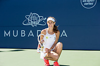 San Jose, CALIFORNIA - Sunday August 5, 2018: Mihaela Buzarnescu defeated Maria Sakkari in straight sees 6-1 6-0 to clinch her first WTA title at the Mubadala Silicon Valley Classic in San Jose.