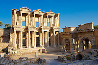 Photo & picture of The library of Celsus. Images of the Roman ruins of Ephasus, Turkey. Stock Picture & Photo art prints 1