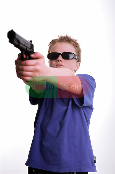 boy aims handgun