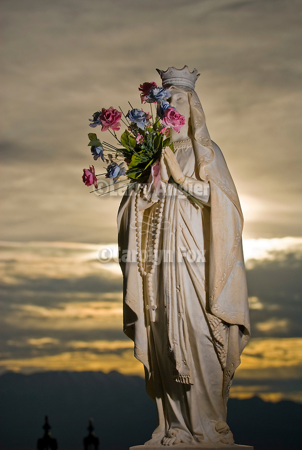 Angel headstone at sundown in the Tonopah Cemetery.