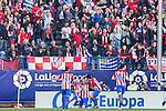 Diego Godin of Atletico de Madrid celebrates after scoring a goal during the match of Spanish La Liga between Atletico de Madrid and Futbol Club Barcelona at Vicente Calderon Stadium in Madrid, Spain. February 26, 2017. (ALTERPHOTOS)