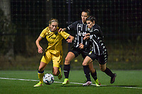 Ludmila Matavkova (9) of Club Brugge , Alysson Duterne (14) of Sporting du Pays de Charleroi and Manola Galofaro (10) of Sporting du Pays de Charleroi pictured during a female soccer game between Sporting Charleroi and Club Brugge YLA on the sixth matchday in the 2021 - 2022 season of Belgian Scooore Womens Super League , friday 8 October 2021 in Marcinelle , Belgium . PHOTO SPORTPIX   STIJN AUDOOREN