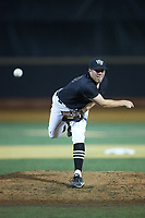 Wake Forest Demon Deacons relief pitcher Chris Farish (32) in action against the Virginia Cavaliers at David F. Couch Ballpark on May 18, 2018 in  Winston-Salem, North Carolina.  The Cavaliers defeated the Demon Deacons 15-3.  (Brian Westerholt/Four Seam Images)