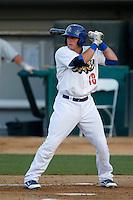 Pratt Maynard #18 of the Rancho Cucamonga Quakes bats against the Stockton Ports at LoanMart Field on June 13, 2013 in Rancho Cucamonga, California. Stockton defeated Rancho Cucamonga, 8-4. (Larry Goren/Four Seam Images)