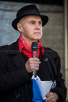"""Grattan Puxon (Member of the Roma community and the 8th April Movement).<br /> <br /> London, 22/03/2014. """"Stand Up To Racism & fascism - No to Scapegoating Immigrants, No to Islamophobia, Yes to Diversity"""", national demo marking UN Anti-Racism Day organised by TUC (Trade Union Congress) and UAF (Unite Against Fascism).<br /> <br /> For more information please click here: http://www.standuptoracism.org.uk/"""