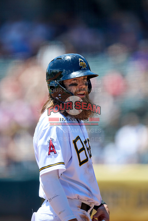 Brandon Marsh (23) of the Salt Lake Bees during the game against the Round Rock Express at Smith's Ballpark on May 31, 2021 in Salt Lake City, Utah. The Express defeated the Bees 8-6. (Stephen Smith/Four Seam Images)