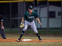 Venice Indians first baseman Hunter Possehl (28) during a game against the Braden River Pirates on February 25, 2021 at Braden River High School in Bradenton, Florida.  (Mike Janes/Four Seam Images)