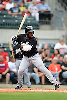 San Antonio Missions outfielder Yeison Asencio (14) at bat during a game against the Arkansas Travelers on May 24, 2014 at Dickey-Stephens Park in Little Rock, Arkansas.  Arkansas defeated San Antonio 4-2.  (Mike Janes/Four Seam Images)
