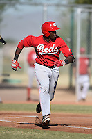 Cincinnati Reds infielder Montrell Marshall (9) during an Instructional League game against the Kansas City Royals on October 16, 2014 at Goodyear Training Complex in Goodyear, Arizona.  (Mike Janes/Four Seam Images)